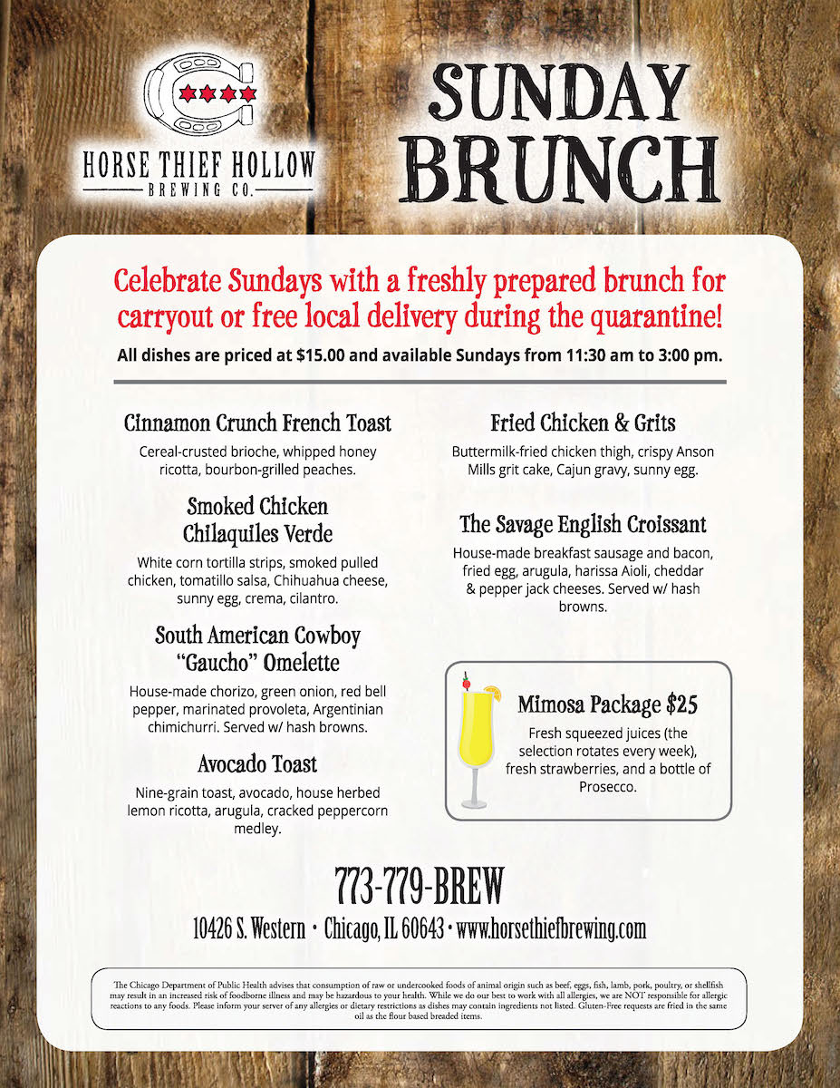 Sunday Brunch menu from Horse Thief Hollow Brewing Co.
