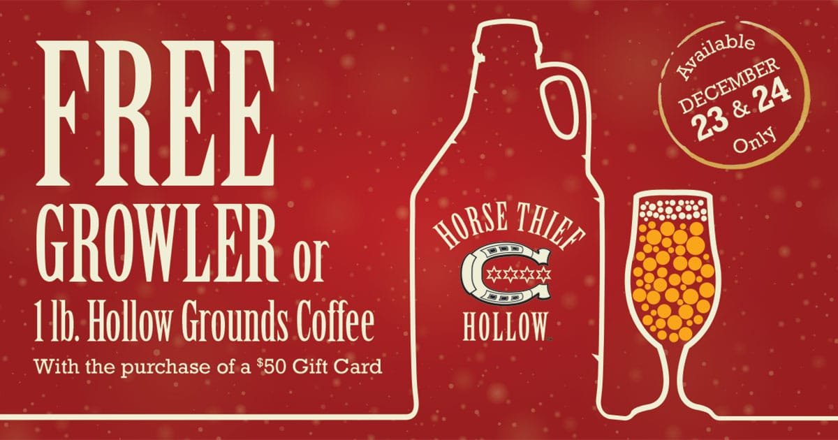 Free HTH Growler or coffee with $50 gift card purchase
