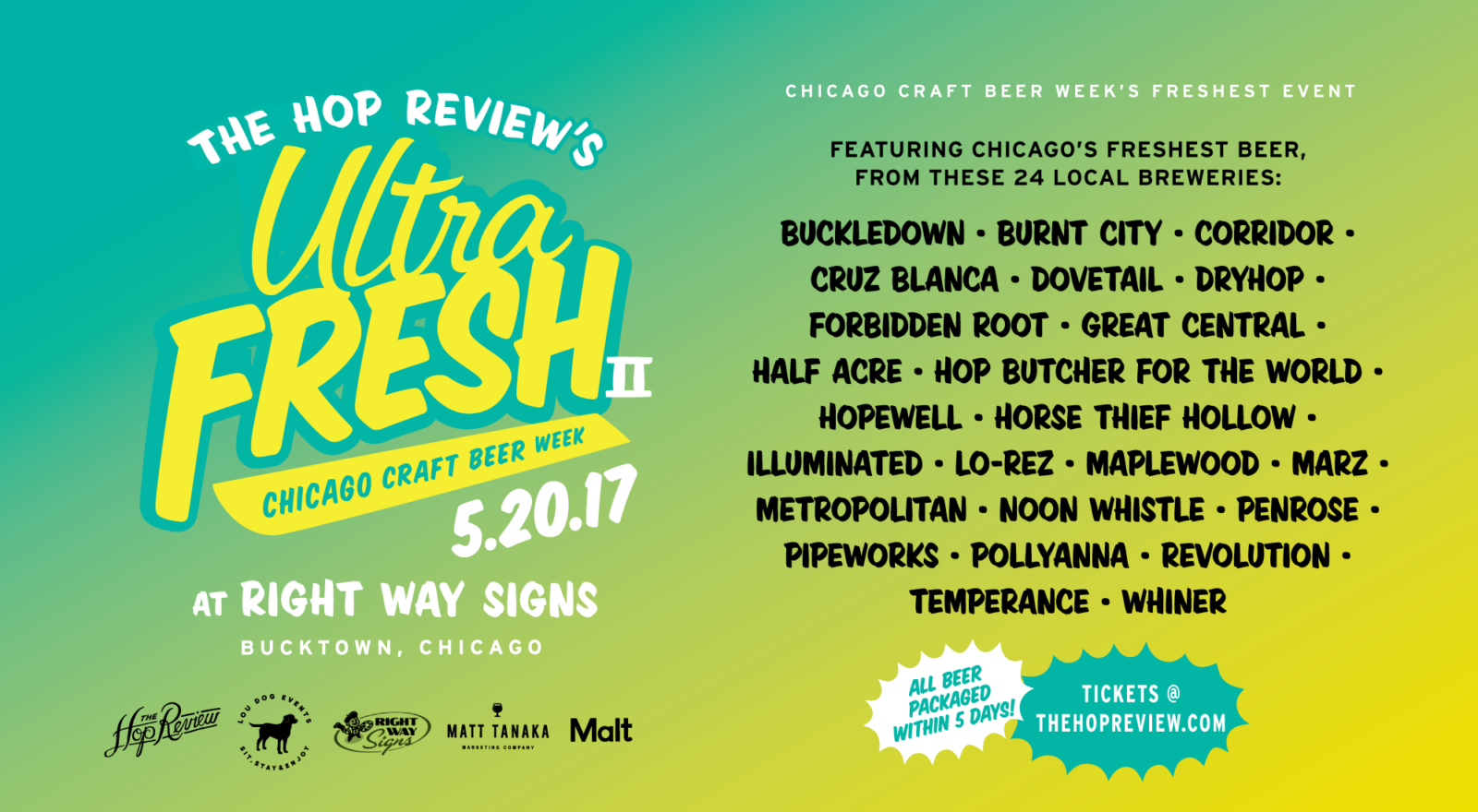 The Hop Review is sponsoring Ultra Fresh II beer tasting event May 20, with Horse Thief Hollow and 20 other local craft breweries serving their freshest beer