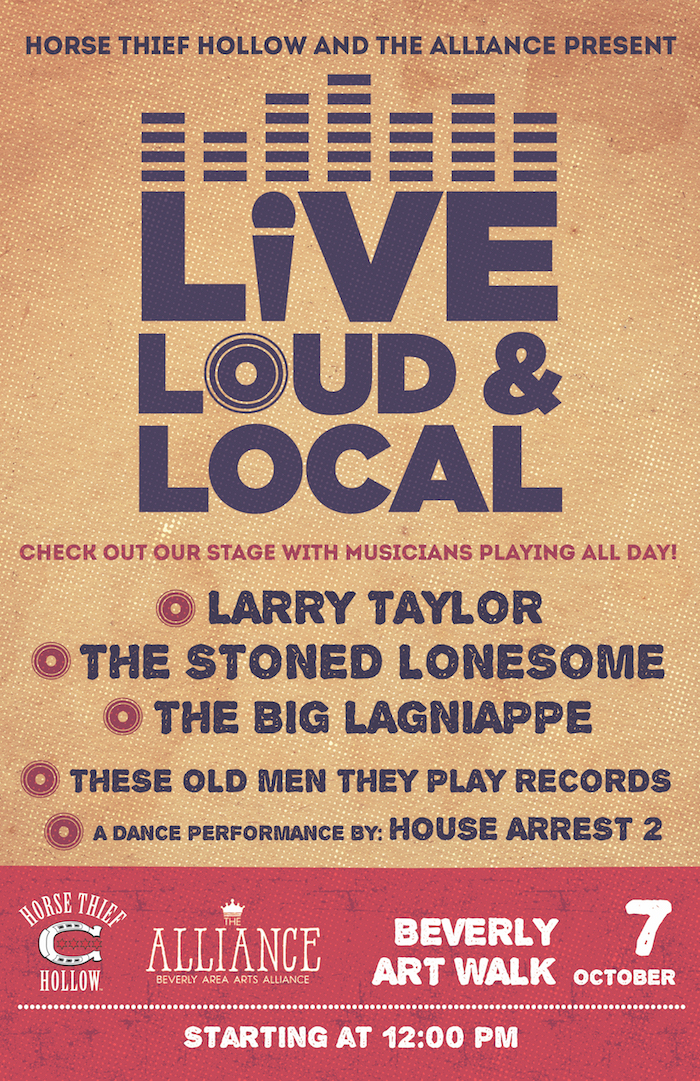 Horse Thief Hollow stage will feature live music and dance performances as part of the Beverly Art Walk and the Live Loud & Local movement Saturday, Oct. 7, 2017