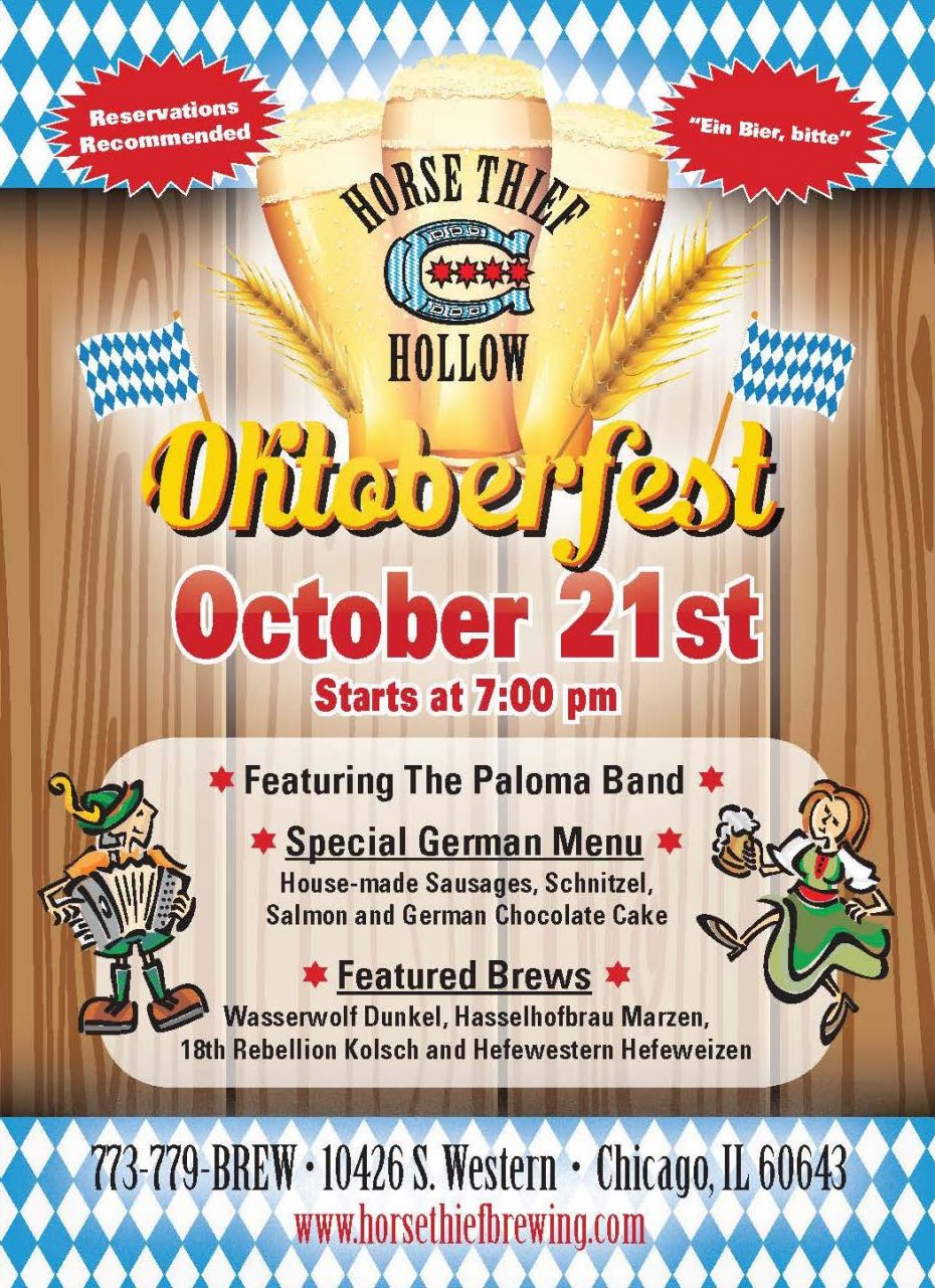 HTH Oktoberfest poster promotes Oct. 21 event with live music from the Paloma band, an authentic German menu, and German-inspired craft brews. Reservations highly recommended.