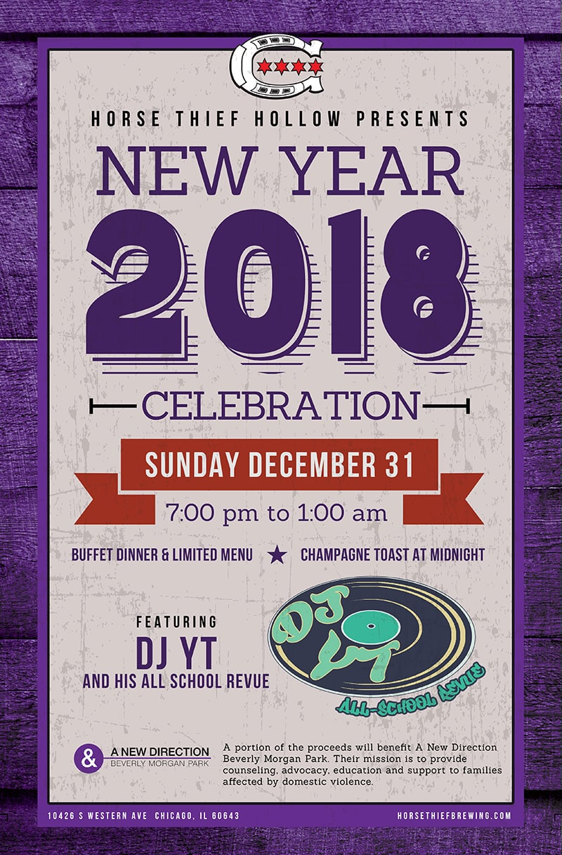 Horse Thief Hollow poster announcing a New Year's Eve party with DJ YT and the All School Revue and a benefit for A New Direction Beverly Morgan Park