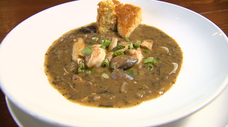 Horse Thief Hollow bowl of spicy shrimp gumbo