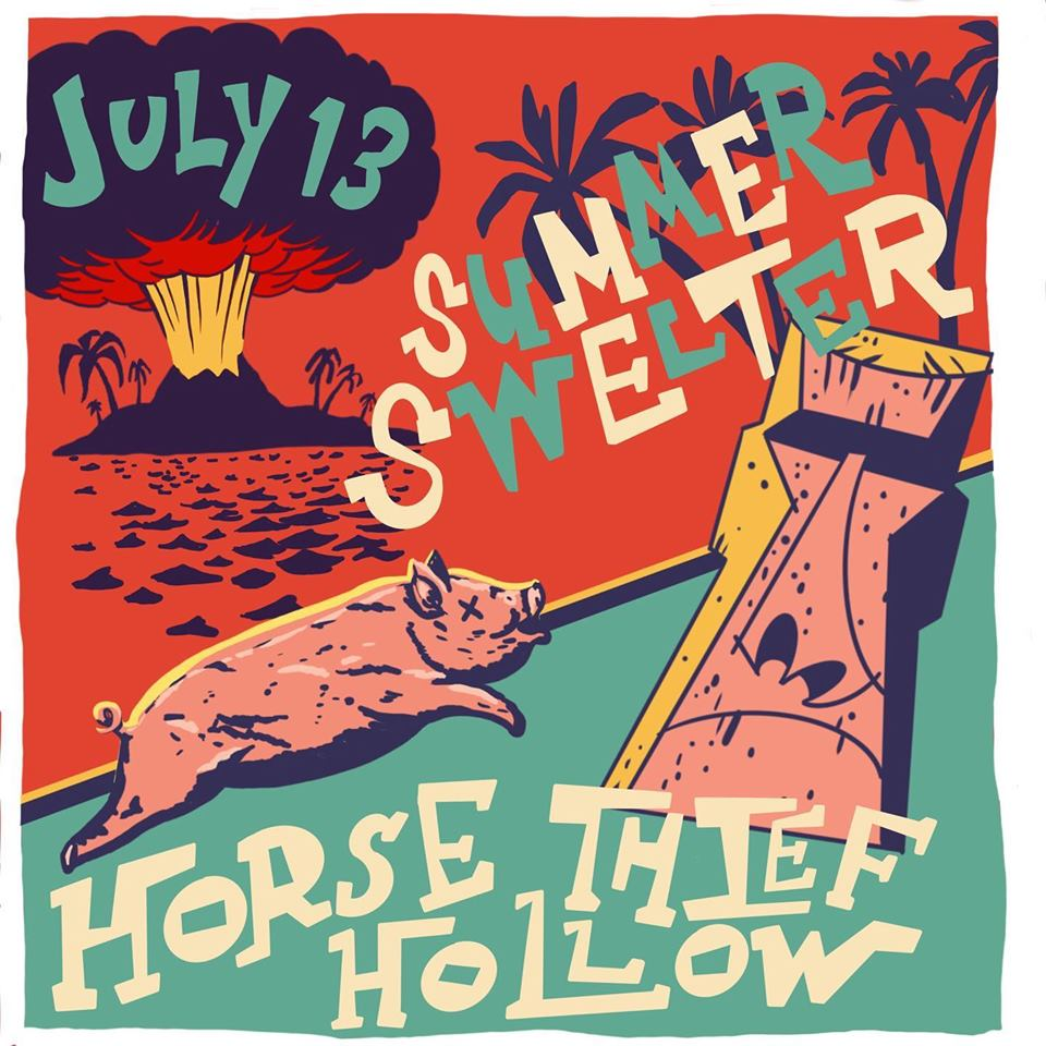 Summer Swelter art for 2019 parking lot party at Horse Thief Hollow on July 13
