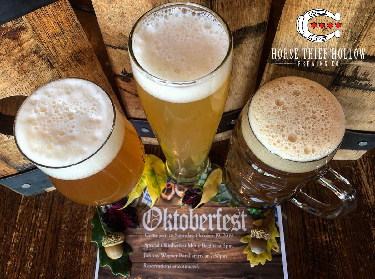 Three glasses of Horse Thief Hollow craft beer announcing their Oktoberfest party on October 19, 2019