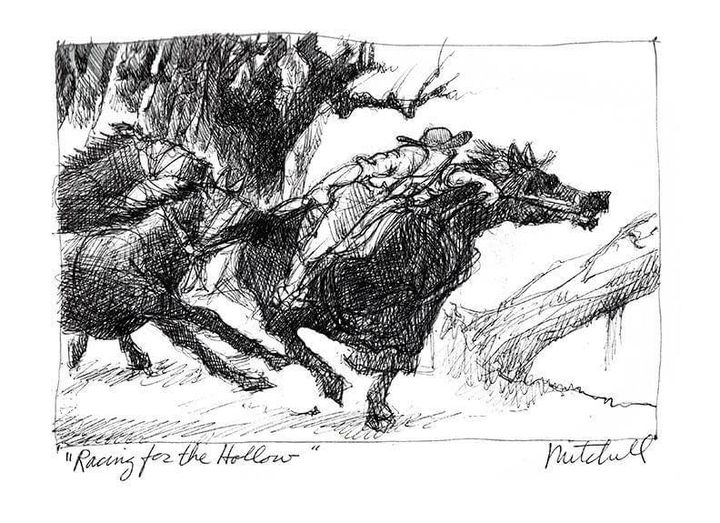 """Kurt Mitchell ink drawing of a horse race titled """"Racing for the Hollow"""""""