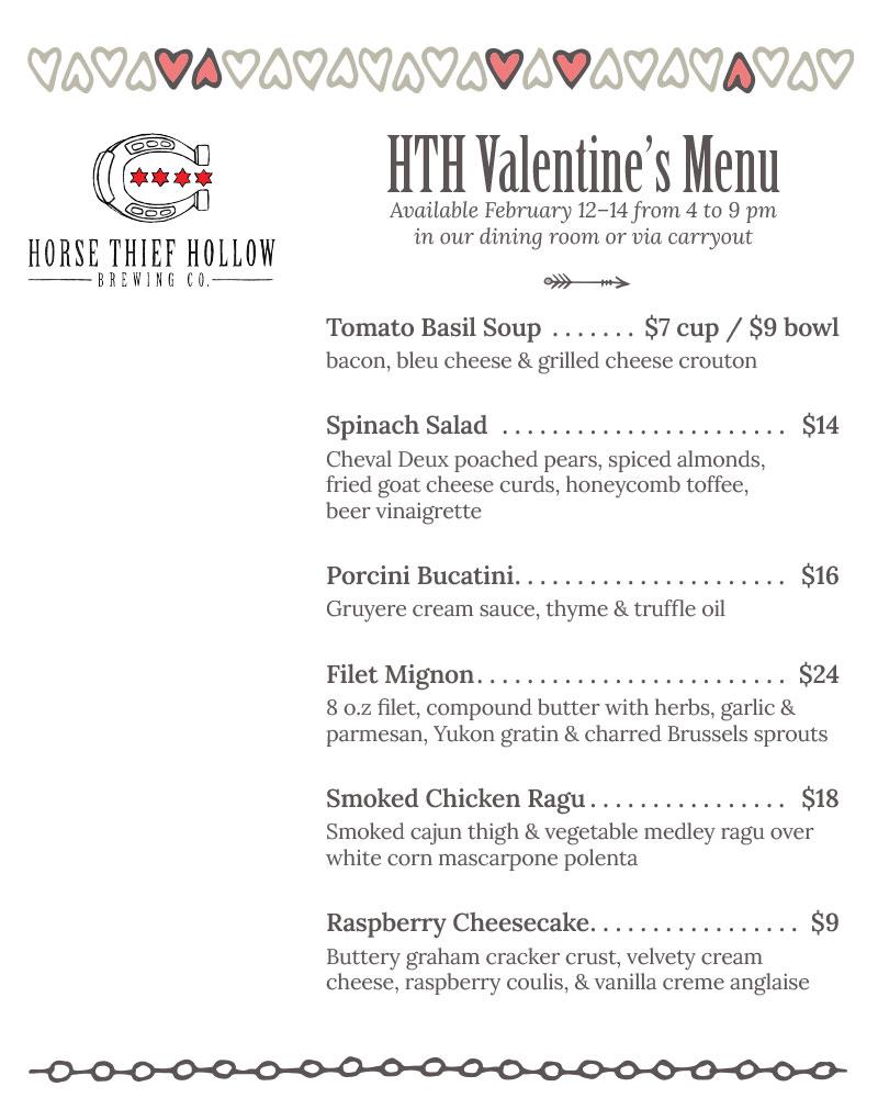 HTH Valentine's menu 2021