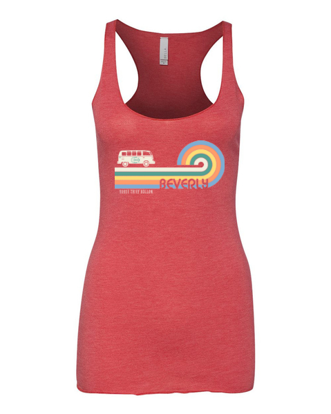 Red ladies tank top with rainbow bus and Horse Thief Hollow logo