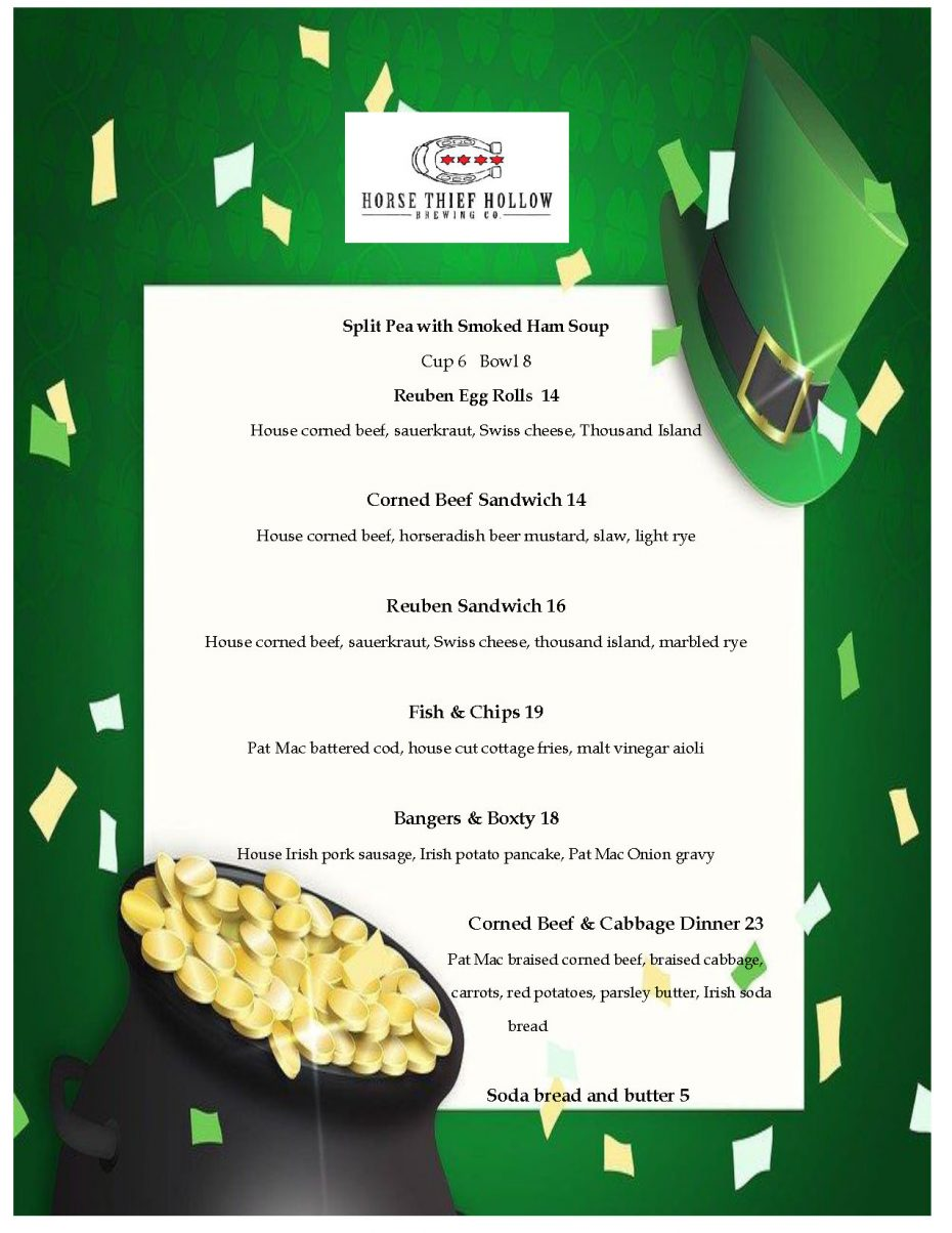 St. Patrick's Day special menu